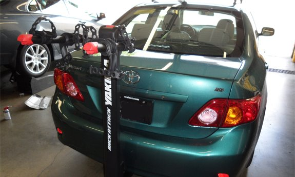 Best Hitch Mount Bike Rack >> Toyota Corolla 4dr Rack Installation Photos