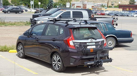 This Honda Fit Can Fit A Lot More Cargo Now That Itu0027s Been To Rack Attack!  We Set It Up With A Totally Custom Roof Rack System And Also A Trailer  Hitch ...