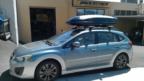 This Is 2012 Subaru Impreza 5dr With A Thule Aeroblade Base Rack With  Yakima SkyBox 16 Cargo Box