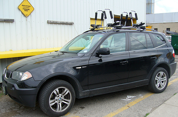 This Is A Custom 2009 BMW X3 Kayak Roof Rack System