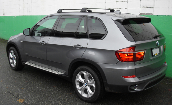 2009 BMW X5 roof rack, TP54 54 Inch Top Tracks with Flare-Nuts, Whispbar Fit Kit 327, Whispbar S5 Base Rack