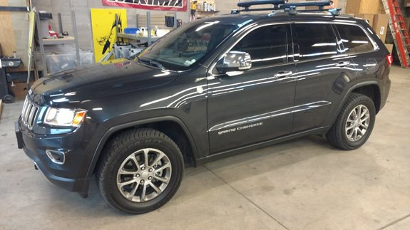 "This is a 2013 Jeep Grand Cherokee with the Yakima Rail Grab kit installed on the chrome flush rail. These bars were cut down to 48"" in length.  This set up also needs a Yakima ""Pin Adapter Kit"" which is free of charge with any Rail Grab purchase."