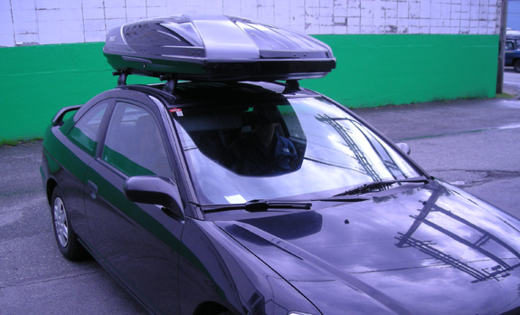 2003 Honda Civic 2dr Coupe cargo box/cargo carrier roof rack, Yakima 42 Inch Track with Plusnuts, Yakima Control Towers, Yakima Landing Pad 1, Yakima 48 Inch Cross Bars, Yakima 4 Pack SKS Cores, Thule 611 Boxter
