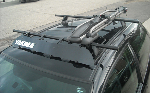 2004 Honda Civic 2dr Hatchback bike roof rack, Yakima 42 Inch Track with Plusnuts, Yakima Control Towers, Yakima Landing Pad 1, Yakima 48 Inch Cross Bars, Yakima 6 Pack SKS Cores, Yakima HighRoller