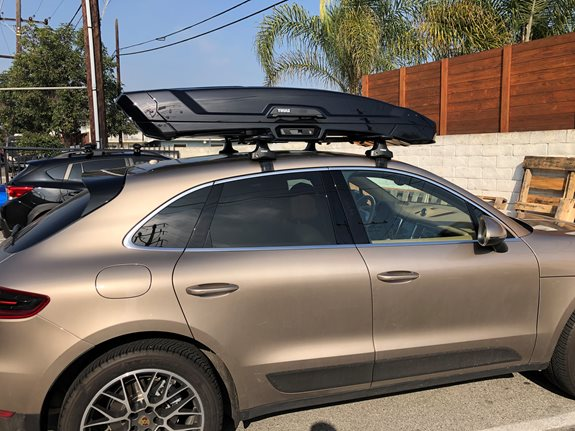 Thule 480R System - 2015 Porshce Macan - Base Roof Rack with Cargo Box