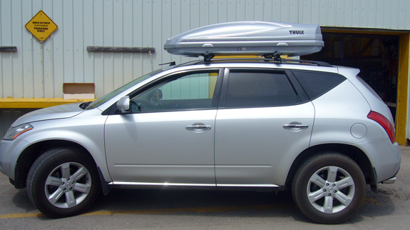 2005 Nissan Murano cargo box/cargo carrier roof rack, Thule 450R Rapid Crossroad, Thule RB53 53 Inch Rapid Load Bars, Thule 686XT Atlantis 1600 Silver, Thule 544 4-pack Lock Cores