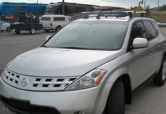 2006 Nissan Murano roof rack, Thule TP54 54 Inch Top Tracks with Flare-Nuts, Thule TK1 Tracker Kit 1, Thule 430R Rapid Tracker Foot Pack, Thule RB47 47 Inch Rapid Load Bars, Thule 871XT Fairing, Thule 544 4-pack Lock Cores