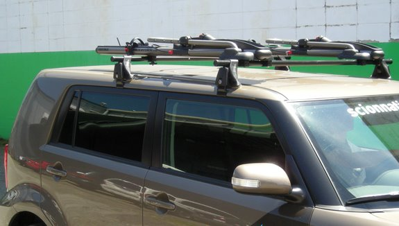 This Is A Custom 2008 Scion XB Bike Roof Rack System.