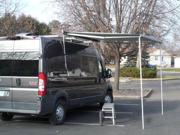 We had a customer come in with their Ram Promaster turned RV looking for a way to have fun out of the sun. Best option was the Thule 10 foot Hideaway Awning, this awning is the easiest awning out there to use. Simply use the supplied crank arm to extend the awning out,  drop the support legs and you