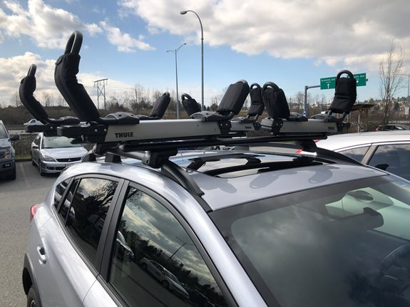 This 2020 Subaru Crosstrek is ready bring kayak anywhere you go,and it makes the experience nice and simple. Roof Rack(Evo Raised Rail+Wingbar 53 Black) and 2 Hullavator Pro.