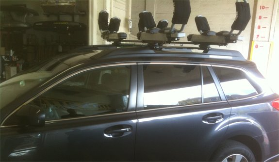 This Is A Custom 2010 Subaru Outback Wagon Kayak Roof Rack System.