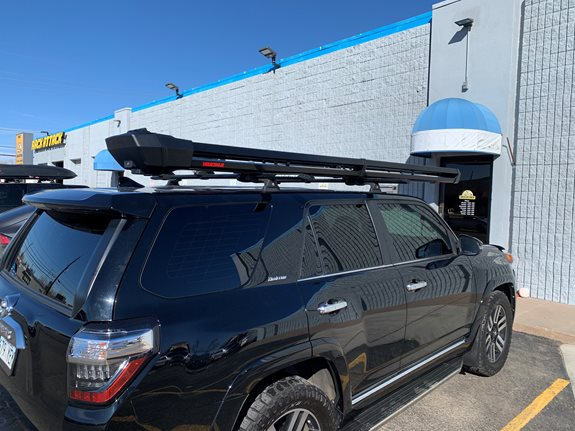 2019 Toyota 4 Runner. Rhino rack RTS tracks,with a fly rod holder and a snowpack extender ski rack