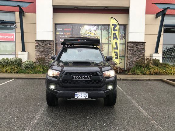 Ready for Adventures. Beautiful Toyota Tacoma 2019 got set up with Rhino Rack Ditch mount tracks and Yakima Roof Rack. iKamper Mini is a perfect size rooftop tent for a smaller truck like that.