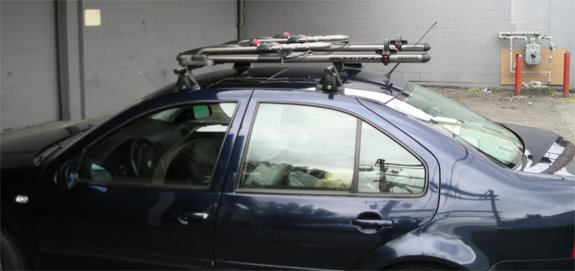 This Is A Custom 2005 VW Jetta 4dr Bike Roof Rack System.