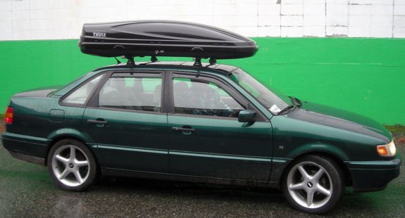 1996 Volkswagen Passat cargo box/cargo carrier roof rack, Thule TK14 Tracker Kit 14, Thule 430 Tracker II Foot Pack, Thule LB50 50 Inch Load Bars, Thule 544 4-pack Lock Cores, Thule 687BXT Atlantis 1800 Black
