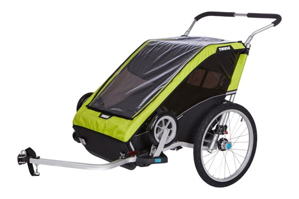 Thule Chariot Cheetah XT 2 + Cycle/Stroll Chartreuse